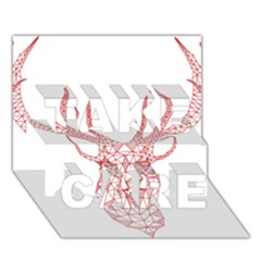 Modern Red Geometric Christmas Deer Illustration Take Care 3d Greeting Card (7x5)  by Dushan