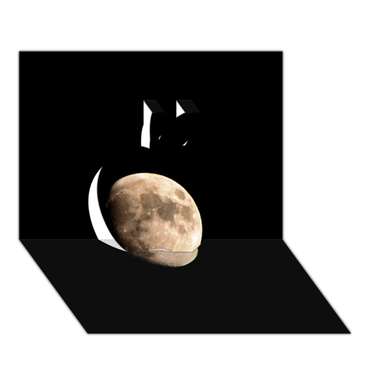 Half Moon Apple 3D Greeting Card (7x5)