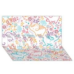 Cute Pastel Tones Elephant Pattern Best Bro 3d Greeting Card (8x4)