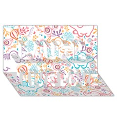 Cute pastel tones elephant pattern Laugh Live Love 3D Greeting Card (8x4)  by Dushan