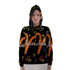 Aries Floating Zodiac Sign Hooded Wind Breaker (Women)