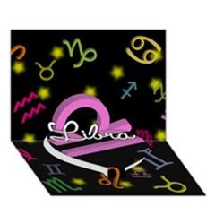Libra Floating Zodiac Name Heart Bottom 3d Greeting Card (7x5)