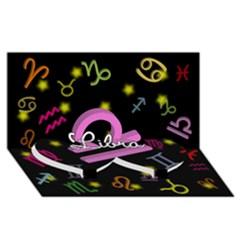 Libra Floating Zodiac Name Twin Heart Bottom 3D Greeting Card (8x4)
