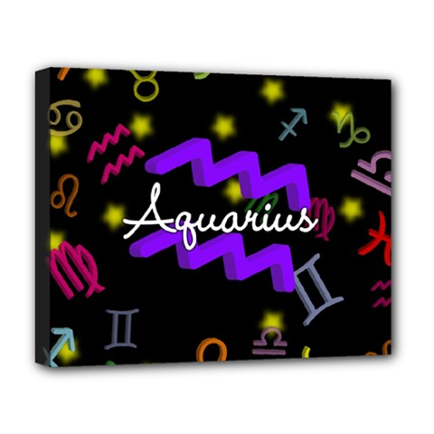Aquarius Floating Zodiac Name Deluxe Canvas 20  X 16   by theimagezone