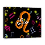 Leo Floating Zodiac Name Canvas 14  x 11