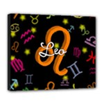 Leo Floating Zodiac Name Deluxe Canvas 24  x 20