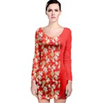 flower - Long Sleeve Bodycon Dress