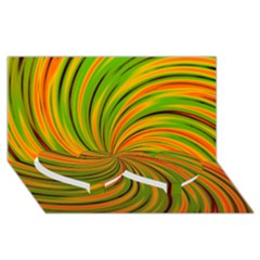 Happy Green Orange Twin Heart Bottom 3d Greeting Card (8x4)  by MoreColorsinLife