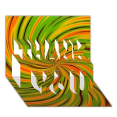 Happy Green Orange Thank You 3d Greeting Card (7x5)