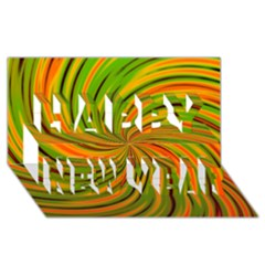 Happy Green Orange Happy New Year 3d Greeting Card (8x4)