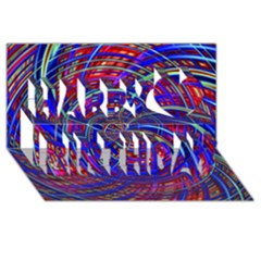Happy Red Blue Happy Birthday 3d Greeting Card (8x4)