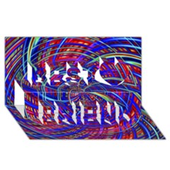 Happy Red Blue Best Friends 3d Greeting Card (8x4)