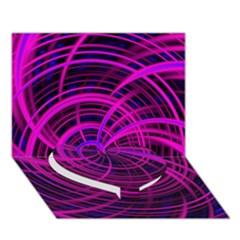 Happy, Black Pink Heart Bottom 3d Greeting Card (7x5)