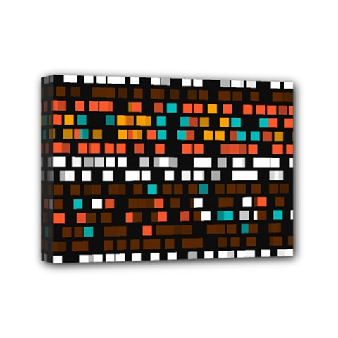 Squares Pattern In Retro Colors Mini Canvas 7  X 5  (stretched) by LalyLauraFLM