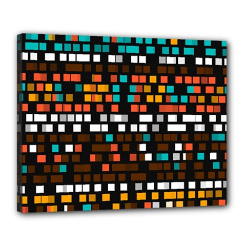 Squares Pattern In Retro Colors Canvas 20  X 16  (stretched) by LalyLauraFLM