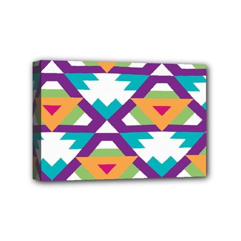 Triangles And Other Shapes Pattern Mini Canvas 6  X 4  (stretched) by LalyLauraFLM