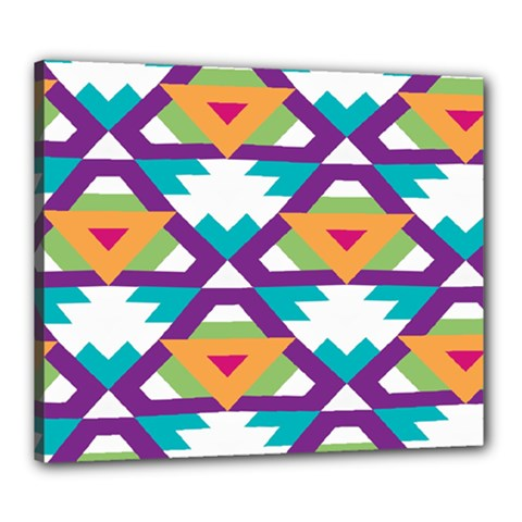 Triangles And Other Shapes Pattern Canvas 24  X 20  (stretched) by LalyLauraFLM