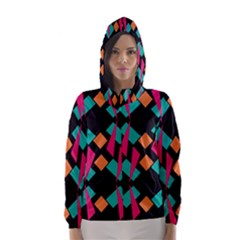 Shapes In Retro Colors  Hooded Wind Breaker (women) by LalyLauraFLM