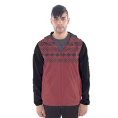 Aztec Red Black Hooded Wind Breaker (Men) by maemae