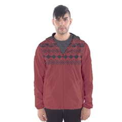 Aztec Red Hooded Wind Breaker (Men) by maemae