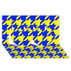 Houndstooth 2 Blue Twin Hearts 3d Greeting Card (8x4)  by MoreColorsinLife