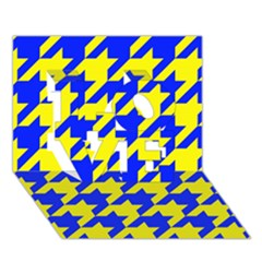 Houndstooth 2 Blue Love 3d Greeting Card (7x5)  by MoreColorsinLife