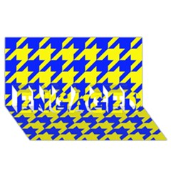 Houndstooth 2 Blue Engaged 3d Greeting Card (8x4)