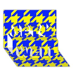 Houndstooth 2 Blue Get Well 3d Greeting Card (7x5)