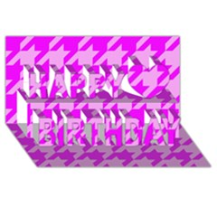 Houndstooth 2 Pink Happy Birthday 3d Greeting Card (8x4)