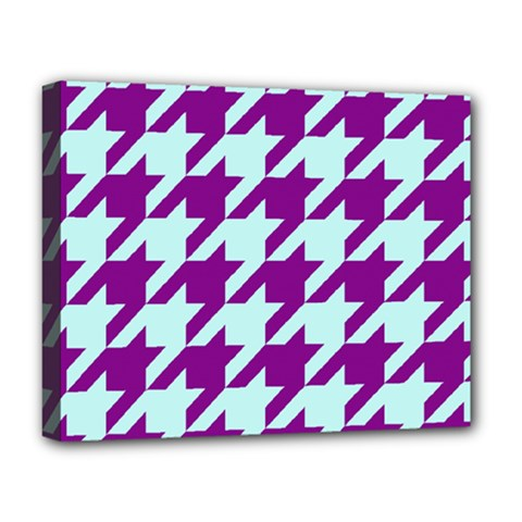 Houndstooth 2 Purple Deluxe Canvas 20  X 16   by MoreColorsinLife