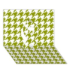 Houndstooth Green Ribbon 3d Greeting Card (7x5)  by MoreColorsinLife