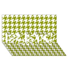 Houndstooth Green Party 3d Greeting Card (8x4)  by MoreColorsinLife