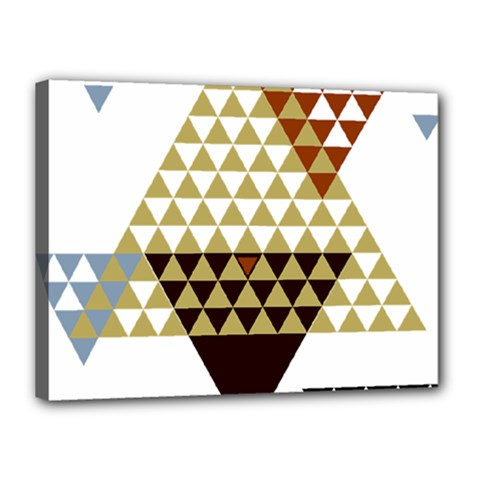 Colorful Modern Geometric Triangles Pattern Canvas 16  X 12  by Dushan