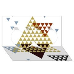 Colorful Modern Geometric Triangles Pattern Twin Hearts 3d Greeting Card (8x4)