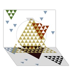 Colorful Modern Geometric Triangles Pattern Circle 3d Greeting Card (7x5)  by Dushan