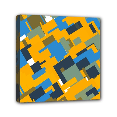 Blue Yellow Shapes Mini Canvas 6  X 6  (stretched) by LalyLauraFLM