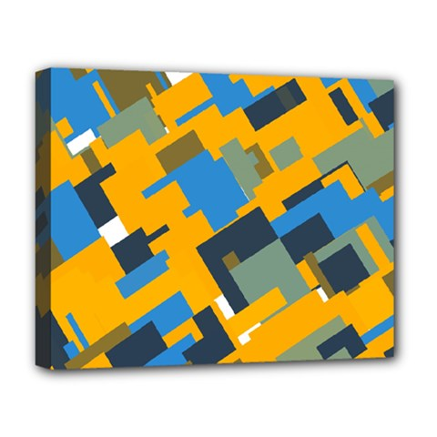 Blue Yellow Shapes Deluxe Canvas 20  X 16  (stretched) by LalyLauraFLM