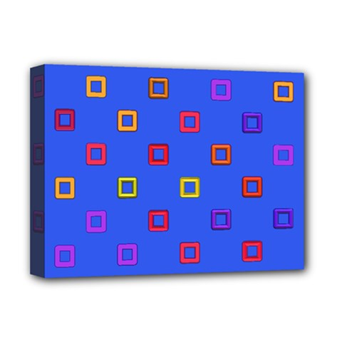 3d Squares On A Blue Background Deluxe Canvas 16  X 12  (stretched)  by LalyLauraFLM