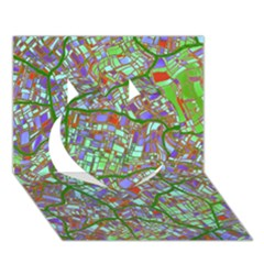 Fantasy City Maps 2 Heart 3d Greeting Card (7x5)  by MoreColorsinLife