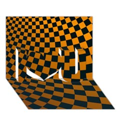 Abstract Square Checkers  I Love You 3d Greeting Card (7x5)  by OZMedia