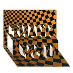 Abstract Square Checkers  Thank You 3d Greeting Card (7x5)  by OZMedia
