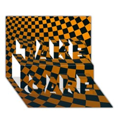 Abstract Square Checkers  Take Care 3d Greeting Card (7x5)