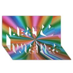 Abstract Rainbow Best Wish 3D Greeting Card (8x4)