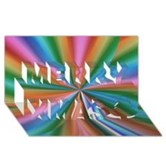 Abstract Rainbow Merry Xmas 3d Greeting Card (8x4)  by OZMedia