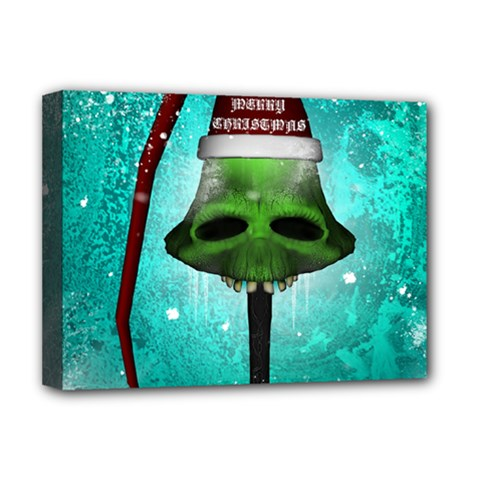 I Wish You A Merry Christmas, Funny Skull Mushrooms Deluxe Canvas 16  X 12   by FantasyWorld7