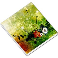 Awesome Flowers And Lleaves With Dragonflies On Red Green Background With Grunge Small Memo Pads by FantasyWorld7