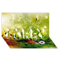 Awesome Flowers And Lleaves With Dragonflies On Red Green Background With Grunge Sorry 3d Greeting Card (8x4)