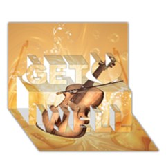 Wonderful Violin With Violin Bow On Soft Background Get Well 3d Greeting Card (7x5)