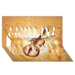 Wonderful Violin With Violin Bow On Soft Background Congrats Graduate 3d Greeting Card (8x4)  by FantasyWorld7