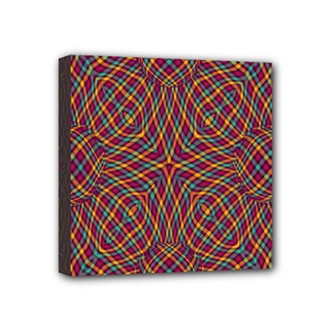 Trippy Tartan Mini Canvas 4  X 4  (framed) by SaraThePixelPixie